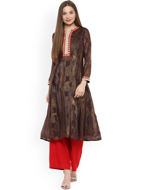 Shakumbhari Women Brown Printed Georgette A-Line Kurta
