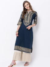 Vishudh Women Teal Blue & Gold-Toned Embroidered Straight Kurta