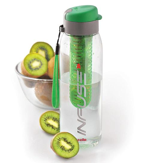 Cello Infuse BPA-Free Leak-Poof Green Infuder Bottle, 800 ml
