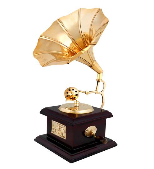 Cherry & Golden Wooden & Brass Retro Gramophone Showpiece by Anantaran