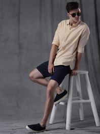 WROGN Men Beige Regular Fit Printed Casual Shirt