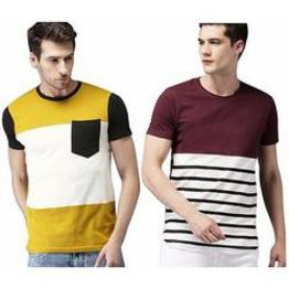 Stylesmyth Multicolor Round Neck Plain 100% Cotton Casual T-Shirts For Men - Pack Of 2