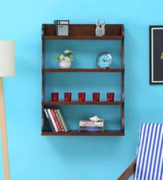 Solid Wood Hand-Made 4 Tier Multi-Purpose Wall Shelf in Provincial Teak Finish