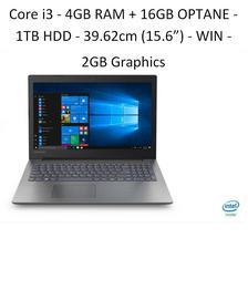"Lenovo Ideapad 81DE01K3IN IP330 (Core i3-7020U/4GB DDR4 + 16 GB Intel OPTANE /1TB HDD/Win 10 / 2GB Graphics/15.6"" HD/Onyx Black/ NO ODD)"