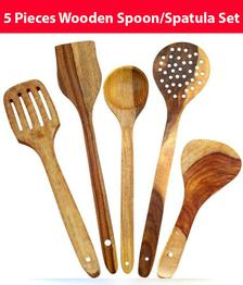 Worthy Shoppee Handmade Pine Wood Serving and Cooking Spoon Kitchen Tools Utensil, Set of 5