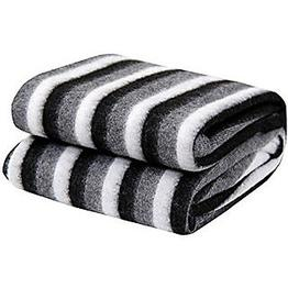 Black and White Stripe Double Bed Ac Fleece Blanket by STOP N SHOP