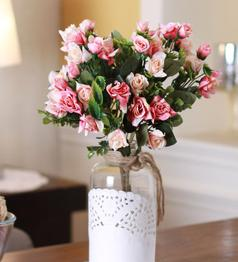 Pink Fabric & Plastic Artificial Rose Bouquet with Shrubs by Fourwalls - Set of 3