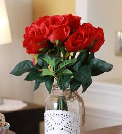 Red Fabric & Plastic Artificial Rose Bunch by Fourwalls - Set of 12