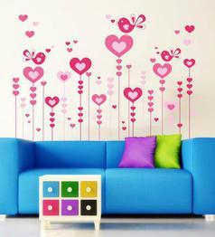 PVC Vinyl Pink Lovely Hearts & Birds Wall Sticker by WallTola