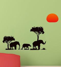 Multicolour PVC Vinyl Jungle Kids Elephant Family Wall Sticker by Decor Kafe