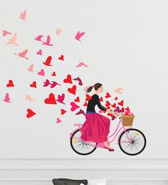 Vinyl Girl Flying Heart With Lots Of Love Wall Sticker By Happy Walls