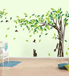 PVC Vinyl 144 x 78 Inch Beautiful Large Tree Birds Squirrel Rabbit Wall Sticker by Print Mantras