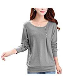 Grey Melange Full Sleeve Round Neck Tshirt for Women