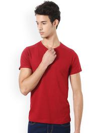 Men Red Solid Henley Neck T-shirt