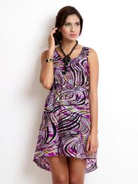 Purple & Black Printed High Low Dress