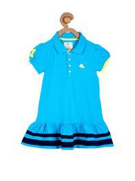 Girls Turquoise Blue Drop-Waist Dress
