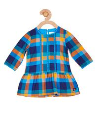 Girls Blue & Orange Checked Dress