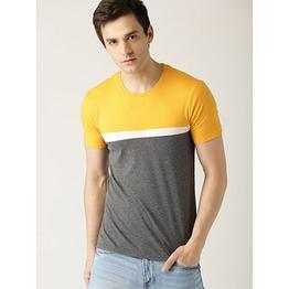 29K Mens Self Design Yellow Round Neck T-shirt