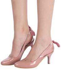 Pink Faux Leather Back Strap Sandals