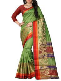 Paisley Zari Motif Kanjivaram Saree With Blouse