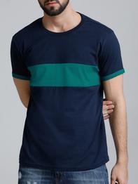 Navy Blue Cotton Color Block T-Shirt
