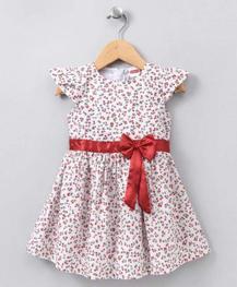 Babyhug Cap Sleeves Frock Floral Print - Red