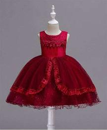 Awabox Lace Applique Sleeveless Dress - Red