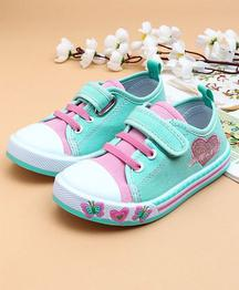 Cute Walk by Babyhug Canvas Shoes Heart Design - Sea Green