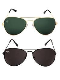 Multicoloured UV Protected Aviator Sunglasses (Set Of 2)