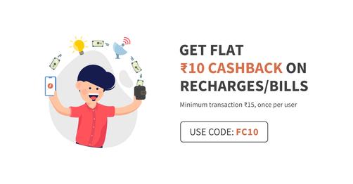 Get Flat Rs 10 Cashback On Recharge / Bills