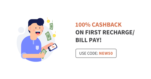 100% Cashback On First Recharge Or Bill Pay