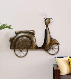 Texture Brown Metal Retro Scooter Wall Hanging by Vedas