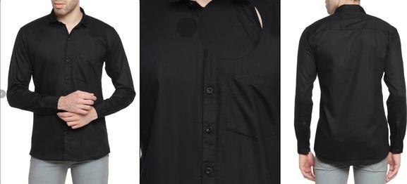 Black Cotton Blend Casual Shirt
