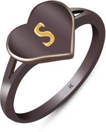 """Initial """"S"""" Alphabet Heart Alloy Black Silver Plated Ring"""