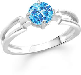 Stylish Blue Solitaire Alloy Cubic Zirconia Rhodium Plated Ring