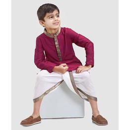 Babyhug Dhoti with Full Sleeves Kurta Zari Border Neckline - Purple