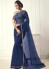 Aasvaa Mono Net Saree - Blue