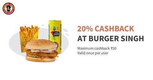 20% Cashback at Burger Singh