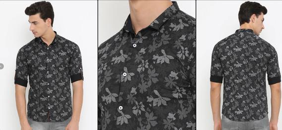 Black Cotton Casual Shirt