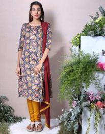 Federal Blue Cotton Satin A-Line Salwar Suit