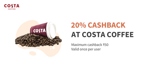 Flat 20% Cashback At Costa Coffee