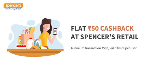 Flat Rs 50 Cashback At Spencer's Retail