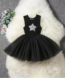 Pre Order - Awabox Star Applique Sleeveless Dress - Black