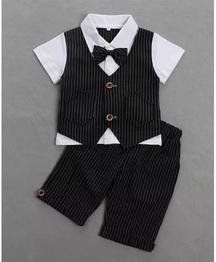 Pre Order - Awabox Striped Short Sleeves Shirt With Mock Waistcoat & Bottom Set - Black