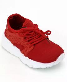 Cute Walk by Babyhug Lace Up Sports Shoes - Dark Red