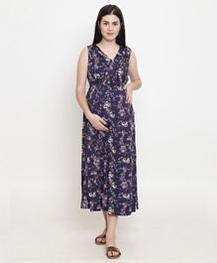 Fashionably Pregnant Flower Print Sleeveless Maternity Maxi Dress - Purple