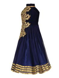 Navy Blue Net Party Gown