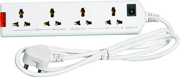 Havells 6A Four-Way Extension Board (White)