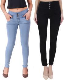 Regular Women Black, Light Blue Jeans(Pack of 2)