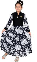 Girls Maxi/Full Length Party Dress(Black, Full Sleeve)